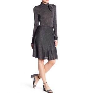 Eliza J Metallic Black Silver Knit Dress
